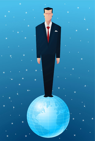 new world order: business Man standing on op of the world.