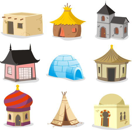 Set of traditional houses. With House, Igloo, Hut, Shack, Slum, Cabinet, Cottage, Cabin, Beach Hut, Gazebo, Tent, Indian Hut, Inuit, Beach House, Straw, Bungalow, Teepee vector illustration. Vettoriali