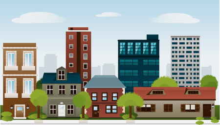 Building set of skycraper architectural construction outbuilding apartment house vector illustration.