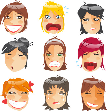 woman screaming: Woman Head People Character Avatar Expressions Profile Front View Set, vector illustration.