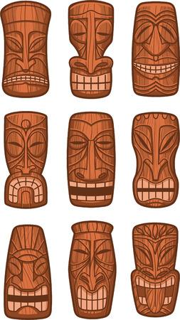 ハワイアン ティキ神の像には、ポリネシア tikki 区 lono 木製ベクトル図が刻まれています。  イラスト・ベクター素材