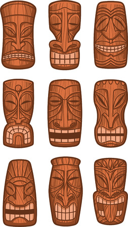 wood carving: Hawaiian tiki god statue carved polynesian tikki ku lono wood vector illustration.