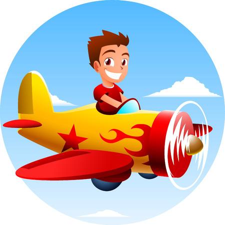 Boy flying an airplane vector illustration. Vettoriali