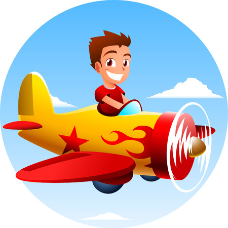 Boy flying an airplane vector illustration. Illustration