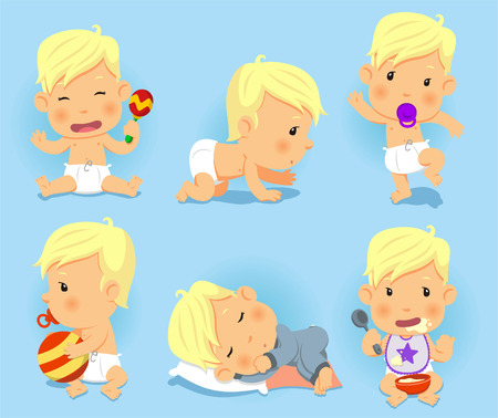 Baby toddler Set, with happy baby, playing baby, walking, baby, eating baby, sleeping baby, crawiling baby. Vector Illustration cartoon.
