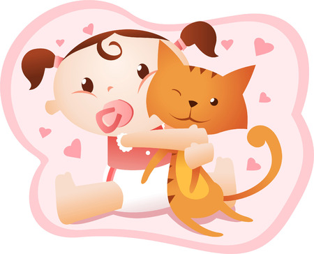 cute baby girl holding cat. Vector