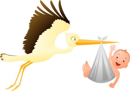 Stork delivering a baby vector illustration Illustration