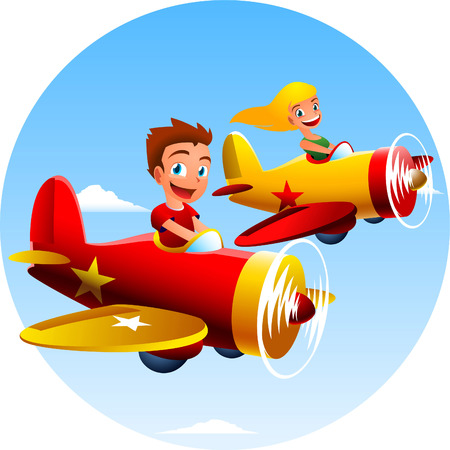 midair: Happy children flying two airplanes.