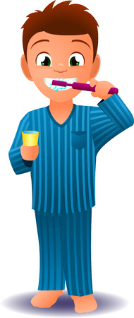 Boy in pijamas brushing his teeth before going to sleep vector illustration Ilustração