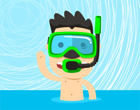 Snorkeling boy with snorkel mask vector illustration.