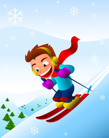 Boy skiing downhill winter snowflake snow holiday. Vector illustration cartoon. Ilustrace