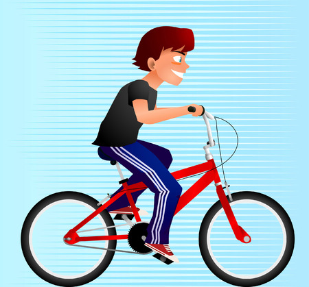 adolescence: boy riding a bike, can be used separated.