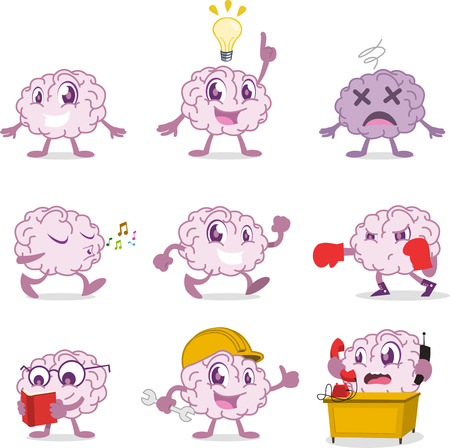 Human Brain set, with brain in different situations like: happy brain, idea brain, one idea, an idea, lost brain, confused brain, singing brain, boxing brain, reading brain, intellect, intellectual, working brain, office brain vector illustration. Illustration