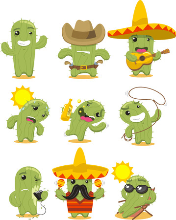 Nine different cactus in different situations like happy cactus, cowboy cactus, Mexican cactus, summer cactus, drunk cactus, riding cactus, cactus with a rope, shaving cactus, cactus with moustache, sunbathing cactus vector illustration.