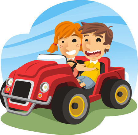 baby playing toy: Children driving toy carm with a little boy and a little girl smiling, having fun while driving a red toy car. Vector illustration cartoon. Illustration