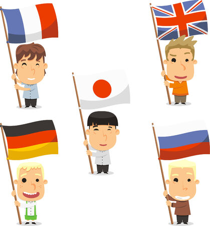 all european flags: Standard bearer kids, with England flag, France flag, Japan flag, Germany flag and Russia flag. Vector illustration cartoon. Illustration