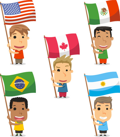 Flag Bearer Kids from America, USA, EEUU, Mexico, Canada, Brazil, Argentina. Vector illustration cartoon. Ilustração