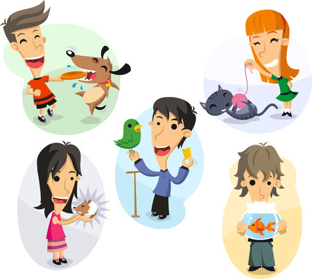 named person: Children playing with their pets, hamster, dog, cat, parrot and goldfish. Illustration