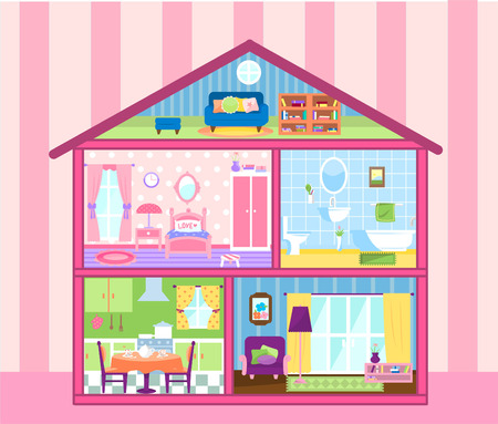 Two floors storey Doll house with cute attic, doll house living room, bathroom, eating room and bedroom vector illustration. All furnished and beautifully decorated.