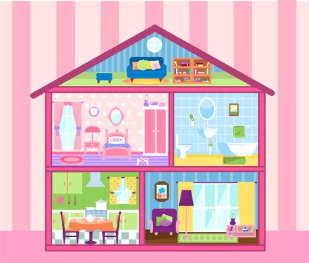 Twee verdiepingen tellende huis van Doll met leuke zolder, poppenhuis woonkamer, badkamer, eten en slaapkamer vector illustratie. Alle ingericht en prachtig ingericht. Stock Illustratie