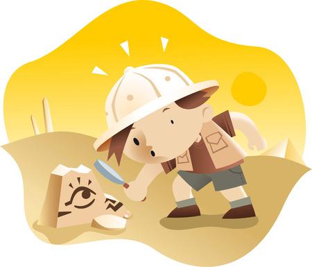 Little boy archaeologist exploring some ruins cartoon illustration Vectores