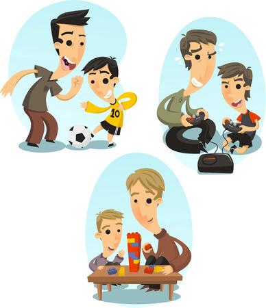 Père et fils jouant liaison ensemble, illustration bande dessinée.