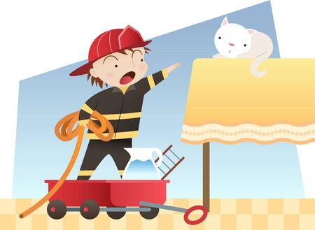 chaton en dessin anim�: Petit gar�on jouant � �tre un enregistrement d'une illustration de bande dessin�e de chaton pompier Illustration