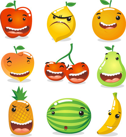 aciculum: Funny fruit characters, with nine fruits like: apple, lemon, orange, peach, cherry, pear, pineapple, water melon and banana. Vector illustration.