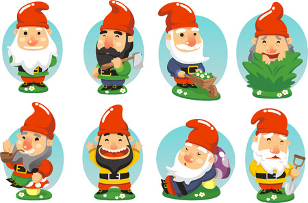 Gnome Garden Set, with standing gnome, gnome with axe, gnome with wheelbarrow, gnome picking grass, gnome smoking pipe, happy gnome, sleeping gnome, gnome with shovel vector illustration cartoon