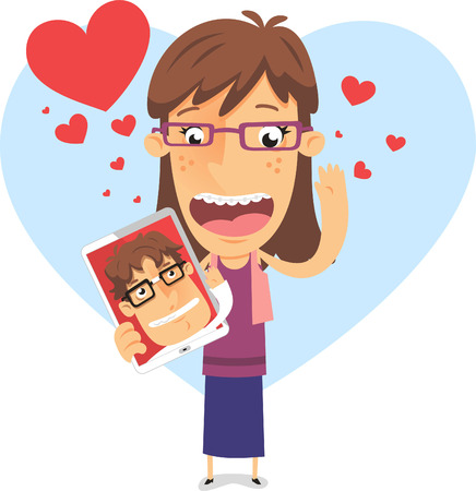 socially: In love geek girl holding an tablet with nerd boyfriend vector illustration, with heart shape backround and many hearts in different sizes in red and blue. Illustration