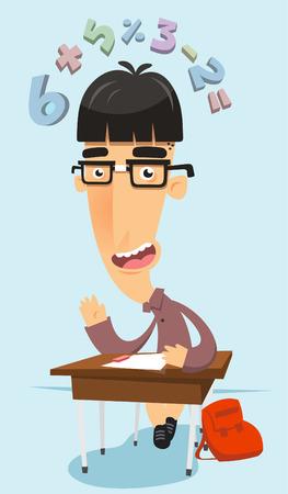 Prodigy: Bardzo inteligentny cudowne frajerem w klasie matematyki z elementami szkolnych, takich jak krzesła, stół, tornister i numery latające nad jego głową ilustracji wektorowych. Ilustracja