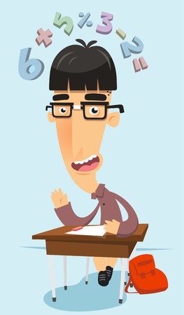 socially: Really intelligent prodigy nerd in maths class, with classroom elements like chair, table, school bag and numbers flying over his head vector illustration. Illustration