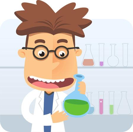 Super intelligent geek nerd holding a test tube at laboratory vector illustration.