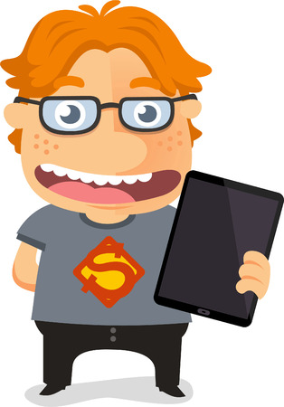 Super geek, red colored nerd holding an Ipad with thicked rimmed glasses vector illustration.