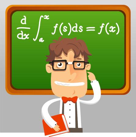 칠판 벡터 일러스트 레이 션 얼간이 교사 수학 괴짜 책을 들고 교육 수학 공식.