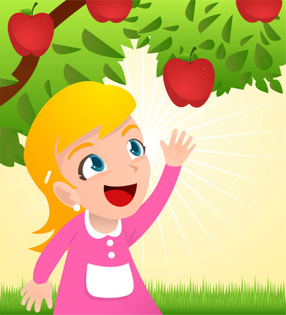 Girl grabbing an apple from a tree Illusztráció