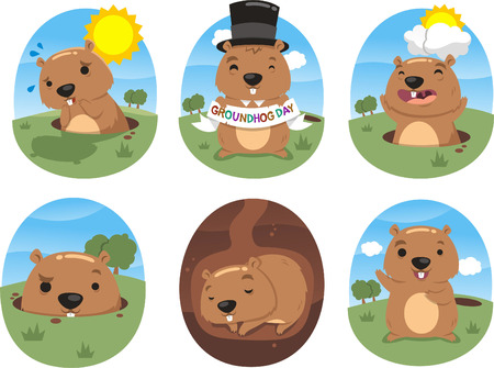 animal den: autumn celebration grounhog day vector illustration action set Illustration