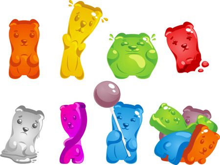 gummy: Gummy Bear Set, with gummy bear in different shapes, sizes and colors vector illustration