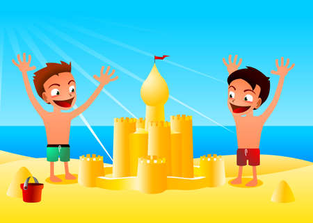 travel locations: a pair of boys cartton style, have just made a huge vastle Illustration