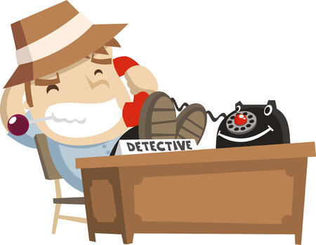telephone: little boy detective at his office cartoon illustration Illustration