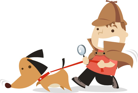 dog costume: little boy detective with dog following a lead cartoon illustration