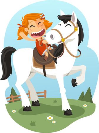Little girl riding horse illustration