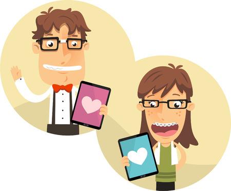 rimmed: Aplicaci�n del empoll�n por parejas friki con gruesas gafas de montura, con aplicaci�n de la forma del coraz�n de i pad ilustraci�n vectorial.