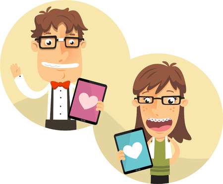 socially: Nerd app for geek couples with thick rimmed glasses, with heart shape app for i pad vector illustration.