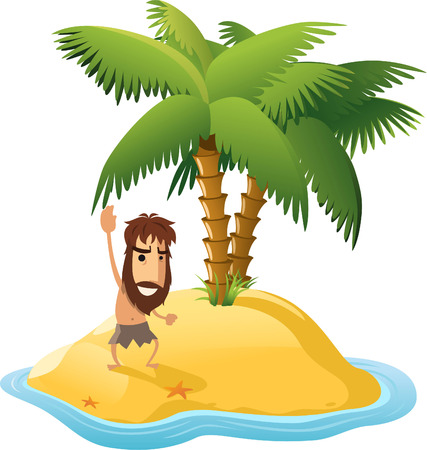 castaway: Desert Island With Palm Trees and Shipwrecked Man. With star shape shape vector illustration cartoon