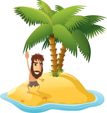 Isla desierta con palmeras y los náufragos Hombre. Con forma de estrella forma ilustración vectorial de dibujos animados Foto de archivo - 33744164