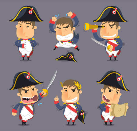 Napoleon Bonaparte Emperor of France Monarch Hegemony, vector illustration cartoon.
