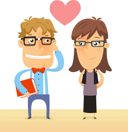 rimmed: Nerd and Geek couple in love both with thick rimmed glasses vector illustration.