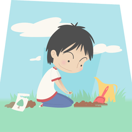 plant seed: Little boy Planting seed of a future tree vector illustration