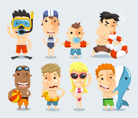 swimming to float: Kids and children ready for the swimming pool vector illustration.